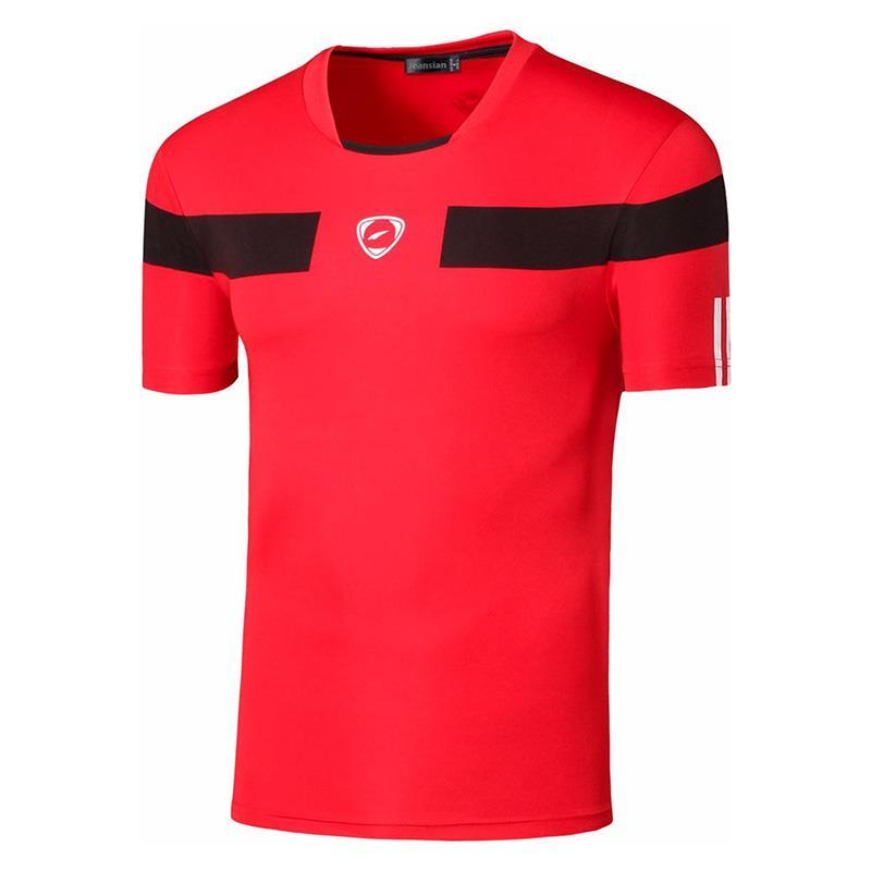 jeansian Mens Sport Tee Shirt Tshirt T-Shirt Tops Running Gym Fitness Workout Football Short Sleeve Dry Fit LSL120 Red2