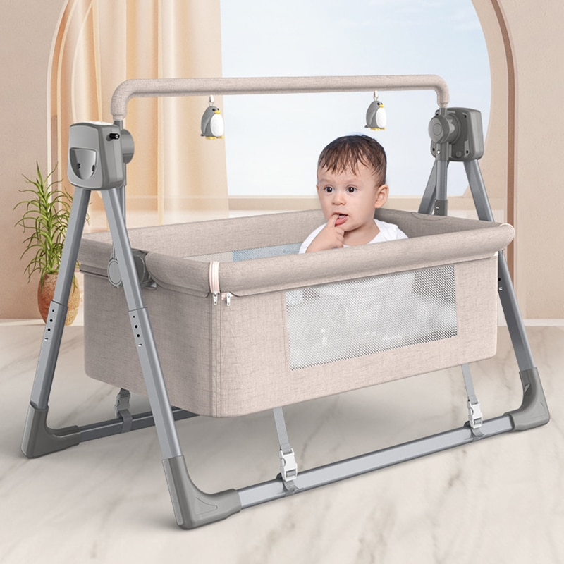 Portable Crib Household Electric Cradle Bed Stitching Big Bed Foldable Newborn Baby Bedside Bed Multifunctional Baby Bed Cradle