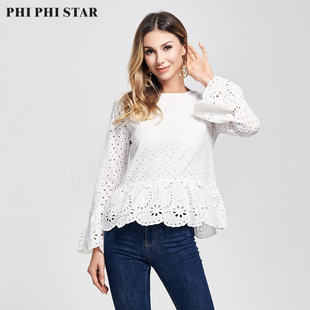 Phi Marca estrella 2020 nuevo manga 100% algodón ojal hueco bordado Tops blusa de las mujeres, Blusas