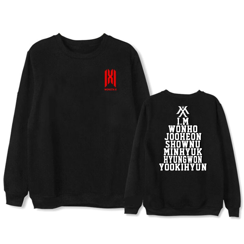 KPOP MONSTA X álbum delgada Sudadera con capucha Hip Hop Casual ropa Jersey manga larga Sudaderas WY1069
