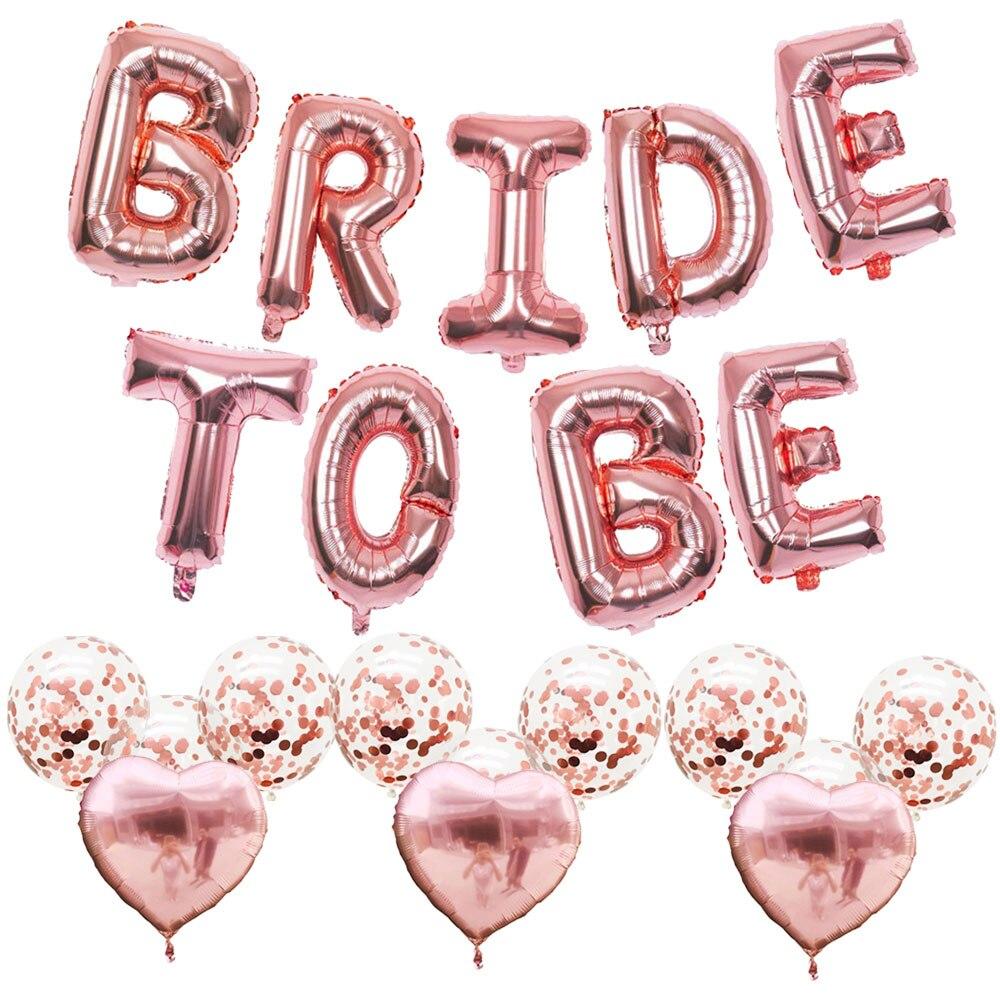 ZLJQ, decoración de novia para ser boda, oro rosa, 16 pulgadas, Banner de letra, globo de papel de aluminio con forma de corazón, para casarse, suministros de despedida de soltera