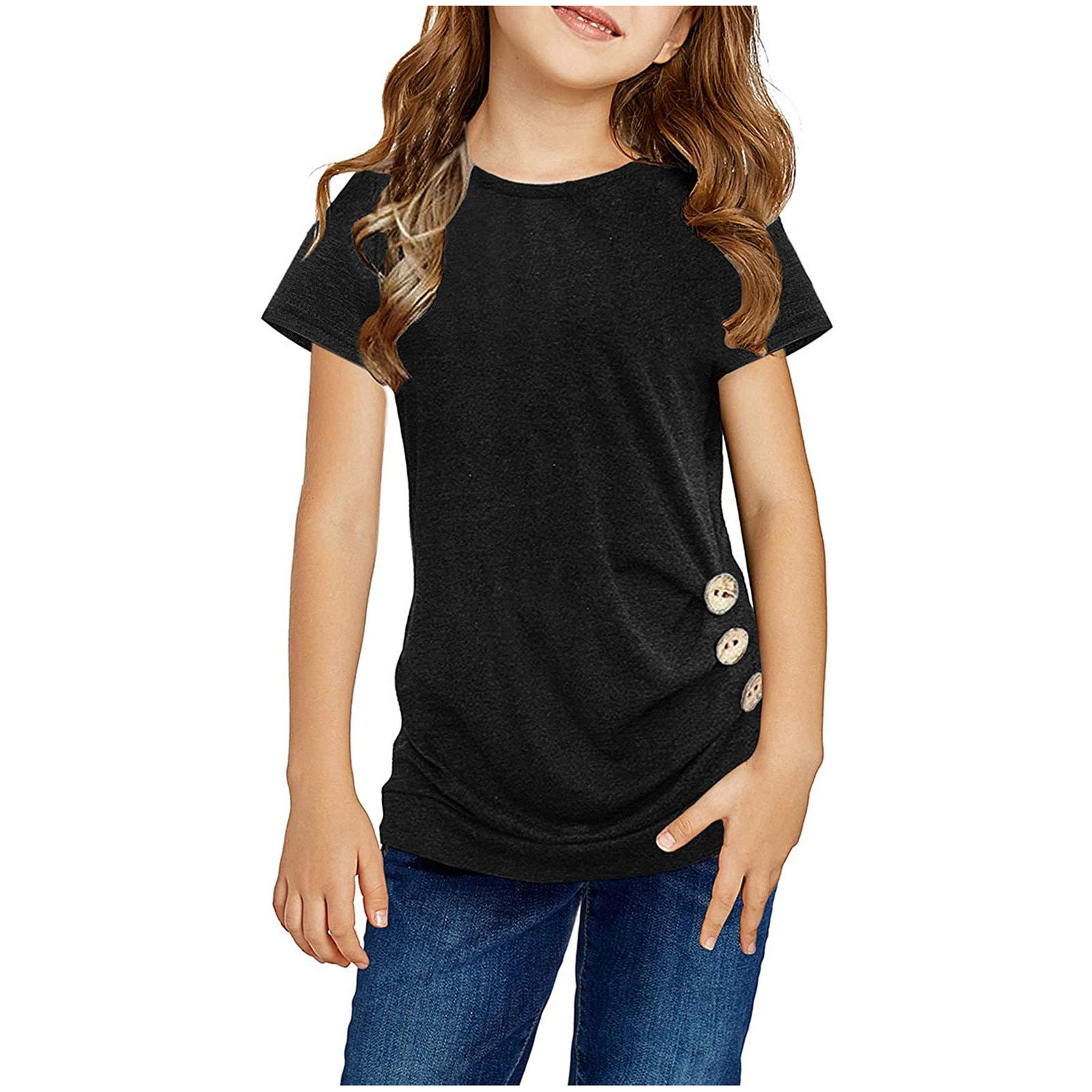 Kids T-Shirt Tee Girls Casual Tunic Tops Knot Front Button Short Sleeve Blouse baby tops set фут�