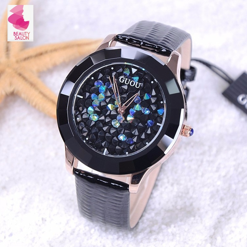 ¡Novedad de 2020! relojes con diamantes de imitación para mujer de la marca Hongkong, banda de cuero de cerámica de cristal austriaco, relojes de vestir para mujer, envío directo