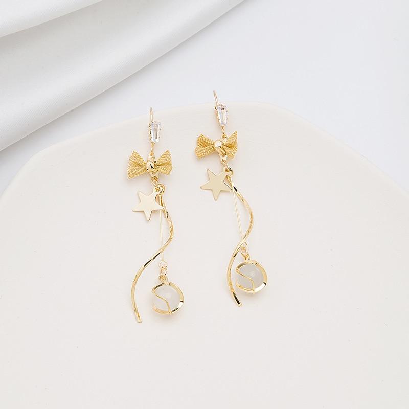 Brincos de borboleta pino de estilo coreano elegante olho de gato pingente de orelha doce arco diamante conjunto brincos em forma de s borla
