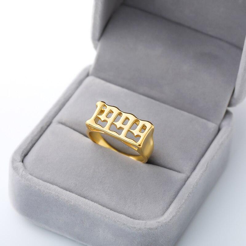 Женские и мужские кольца с цифрами в английском году, золотистого и серебристого цвета из нержавеющей стали, модные ювелирные изделия