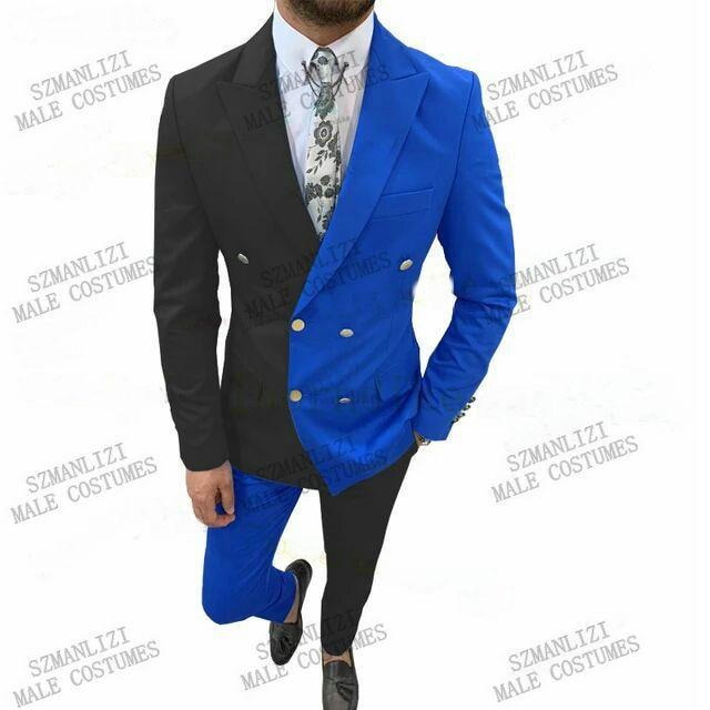 بدلة زفاف رجالية مزدوجة الصدر ، بدلة سهرة زرقاء ملكية أو سوداء ، معطف مزدوج الصدر ، بدلة زفاف ، مجموعة جديدة 2021
