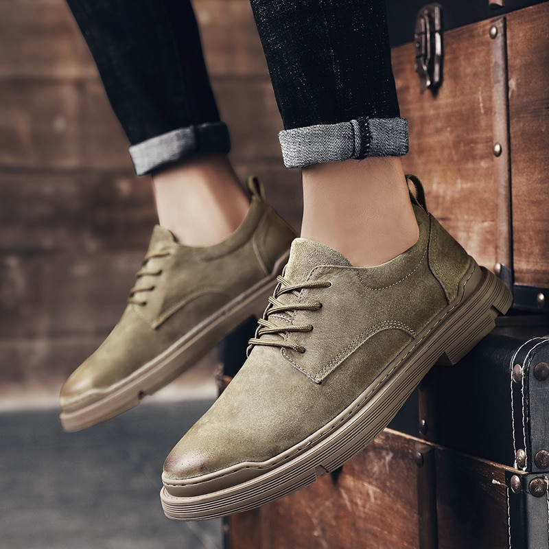 Mens Shoes Suede Fashion England Trend Casual Oxford Brand Formal Leather Dress Men Flats Business Office