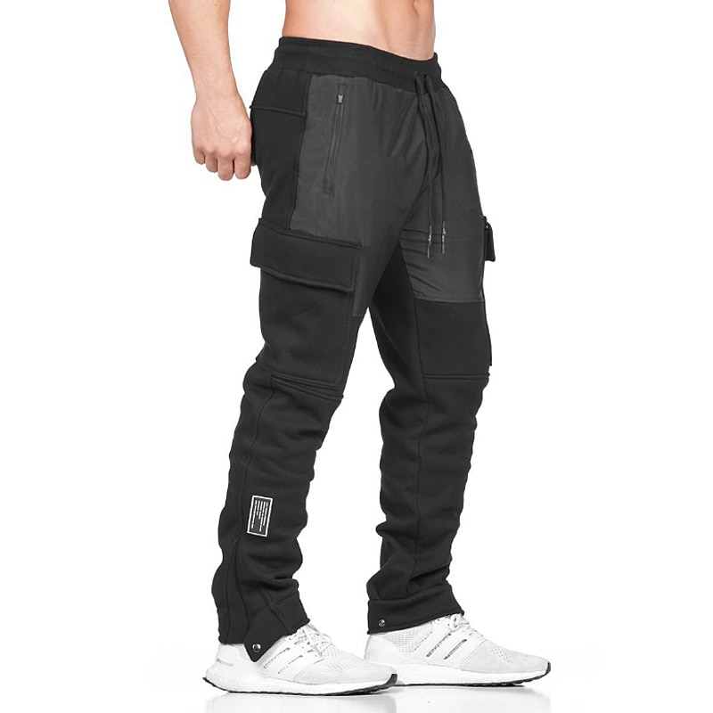 Джоггеры мужские хлопковые, Брюки с карманами для спортзала, бега, повседневные штаны с карманами, спортивные штаны для фитнеса