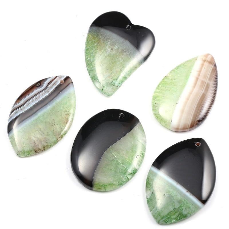 5 unidad/bolsa de ágata Natural colgante de grieta mezclado con piedra de ágata Natural a rayas collar Irregular colgante encantos para la fabricación de joyas
