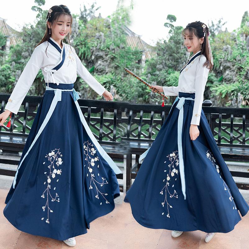 فستان صيني تقليدي للنساء ، فستان هانفو البرقوق ، فستان رقص شعبي أنيق ، عرض مسرحي ، زي عتيق من سلالة تانغ ، 4 ألوان