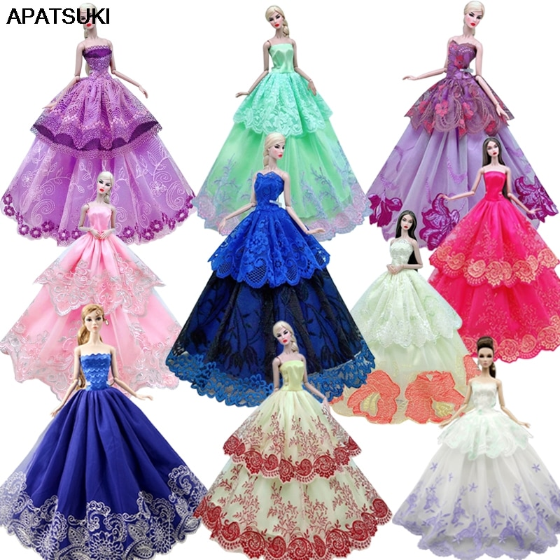 Colorful Lace Wedding Dress For Barbie Doll Outfits Clothes Princess Party Gown For 1/6 BJD Dollhouse Accessories Toys Gifts