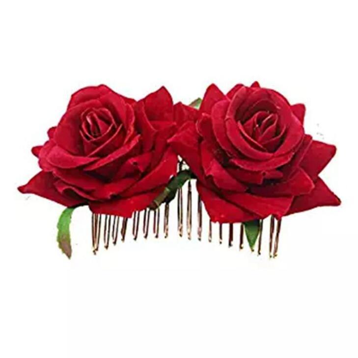 Bianco/Rosso Rosa Dei Capelli Del Fiore Pettini Da Sposa Gioelleria Raffinata E Alla Moda Delle Donne di Promenade Copricapo Dei Capelli di Fascino Accessori Per Capelli Spilli Pinze