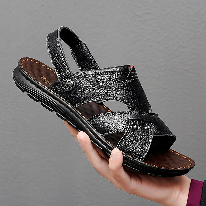 2021 Summer Men's New Casual Sandal Soft Wear-resistant Leather Home Comfort Slipper Is a Dual-purpo