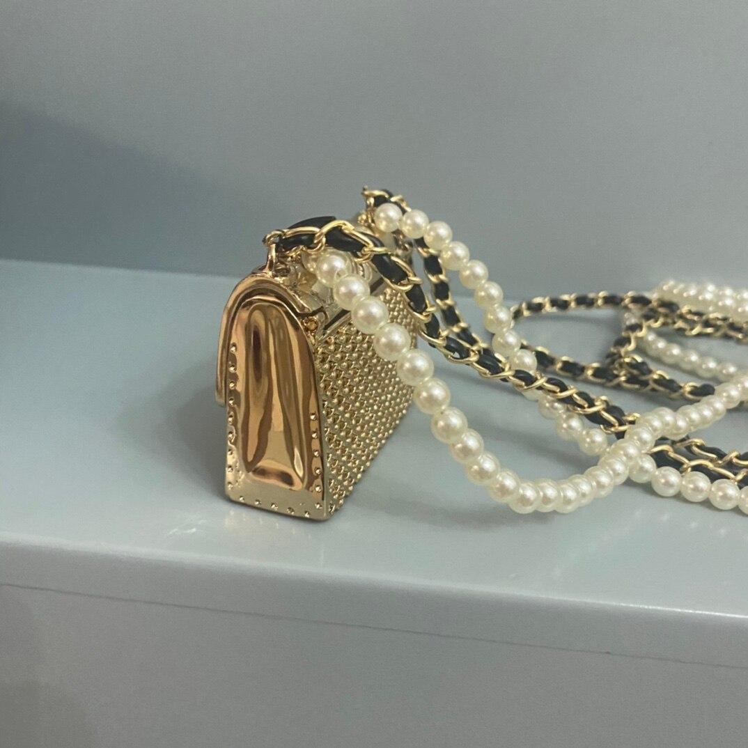 الفاخرة مصمم نمط المرأة حقيبة صغيرة ماتيل جذع حقيبة اللؤلؤ الذهبي سلسلة صغيرة لطيف حقيبة يد كروس الحقيبة شحن مجاني