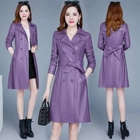 fit trench coat faux leather synthetic leather abrigo mid length korean version of slim 2021womens autumn s winter women pu