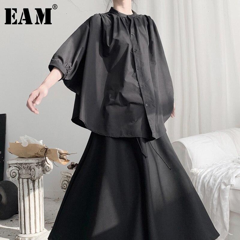 [EAM] blusa negra plisada de talla grande con cuello alto nueva manga de murciélago camisa holgada de moda Primavera otoño 2020 19A-a696