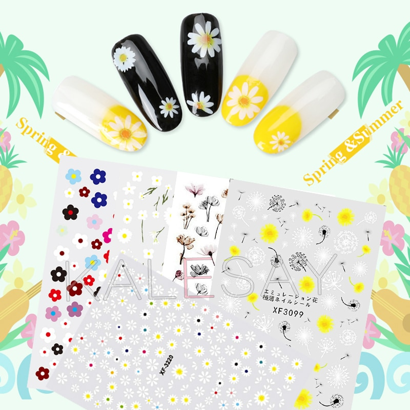 Pegatina de uñas de margaritas DIY para decoración de diseño, calcomanías de decoración de uñas de flores a la moda, calcomanías adhesivas para envolturas para manicura, accesorios