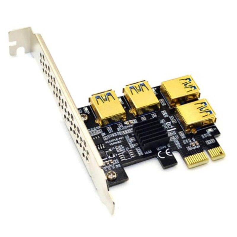 محول PCIe 1x إلى 16x بطاقة الناهض التعدين 1 إلى 4 USB 3.0 مضاعف لمنجم BTC