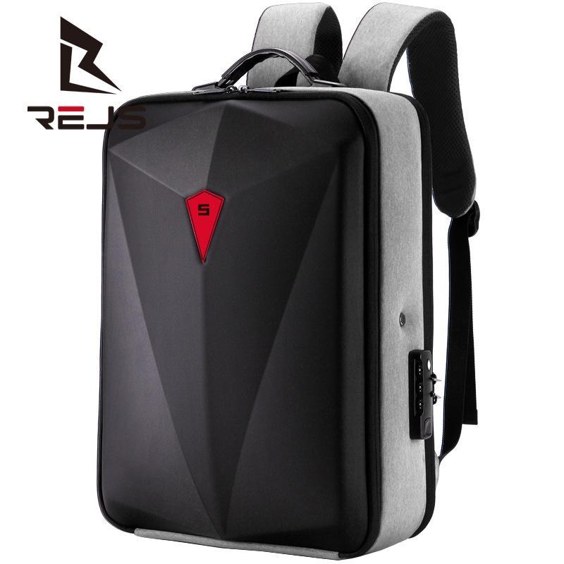 REJS LANGT 2021 حقيبة ظهر للكمبيوتر المحمول للرجال 15.6/17 بوصة مع منفذ USB حقيبة شحن خارجية حقيبة سفر للأعمال حقيبة ظهر متعددة الوظائف أكسفورد
