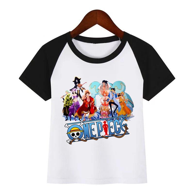 t shirt diy Children One Piece Japanese Anime T-shirt Diy Print T Shirt Baby Kids Funny Clothes Children Summer T-shirt