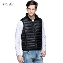 Fitaylor New Winter Men Down Vest Ultra Light 90% White Duck Down Outwear Sleeveless Warm Slim WaistCoat Black Wine Red