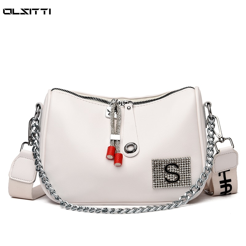 High Quality Retro Waterproof Leather Shoulder Messenger Bags for Women 2021 Casual Concise Chain Me
