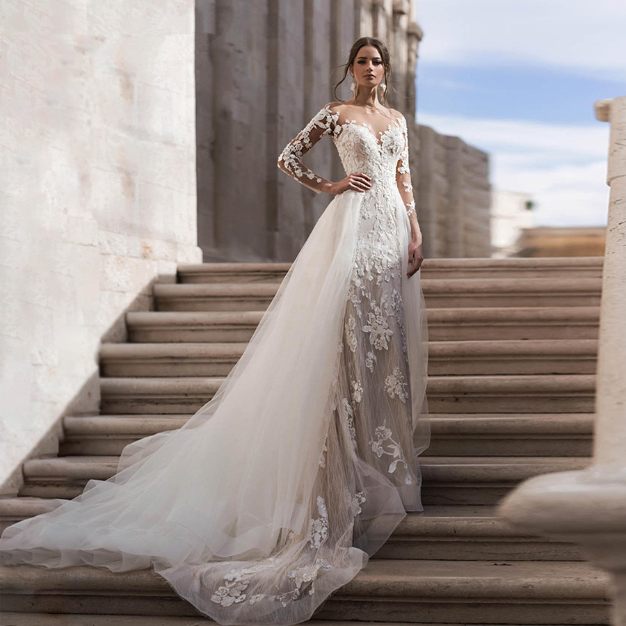Vestido De Noiva 2020 Scoop Neck Wedding Dresses Long Sleeve Removable Train Wedding Dress With Lace Appliques Robe De Mariage
