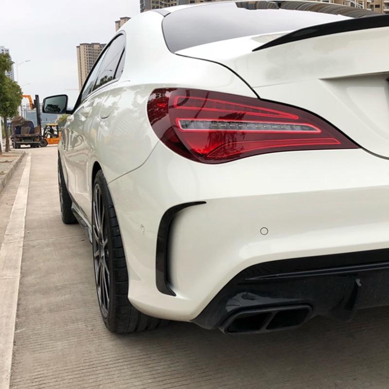 Para Benz DE LA CIA W117 Cla45 Amg con apariencia de fibra de carbono alerón para parachoques trasero cubierta de ventilación de aire 2013-2018 2 uds