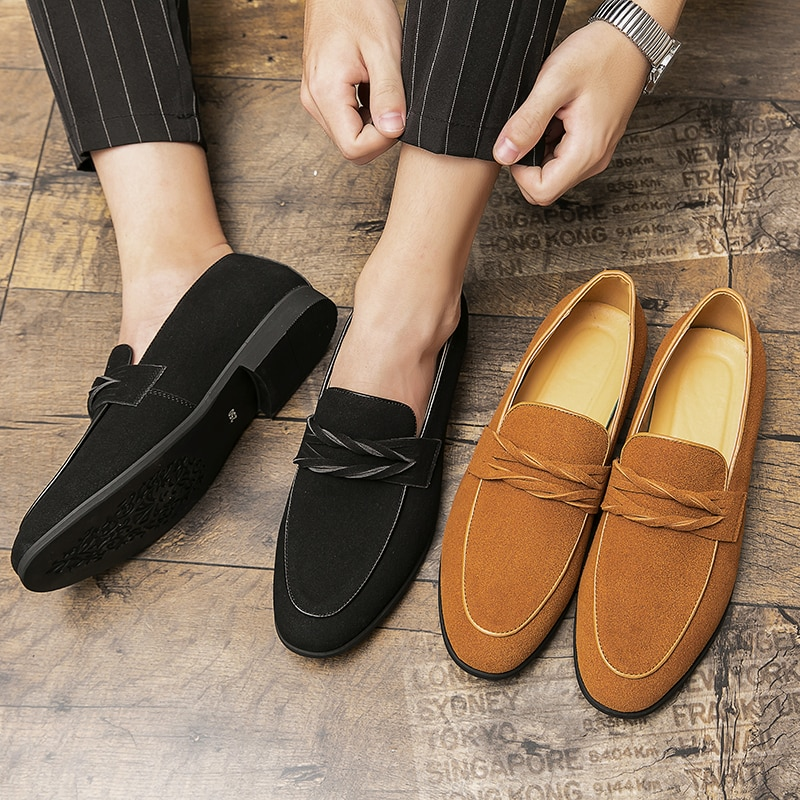 New Men Fashion Casual Business British Dress Shoes Handmade Classic Solid Color Suede Face Mask Twi