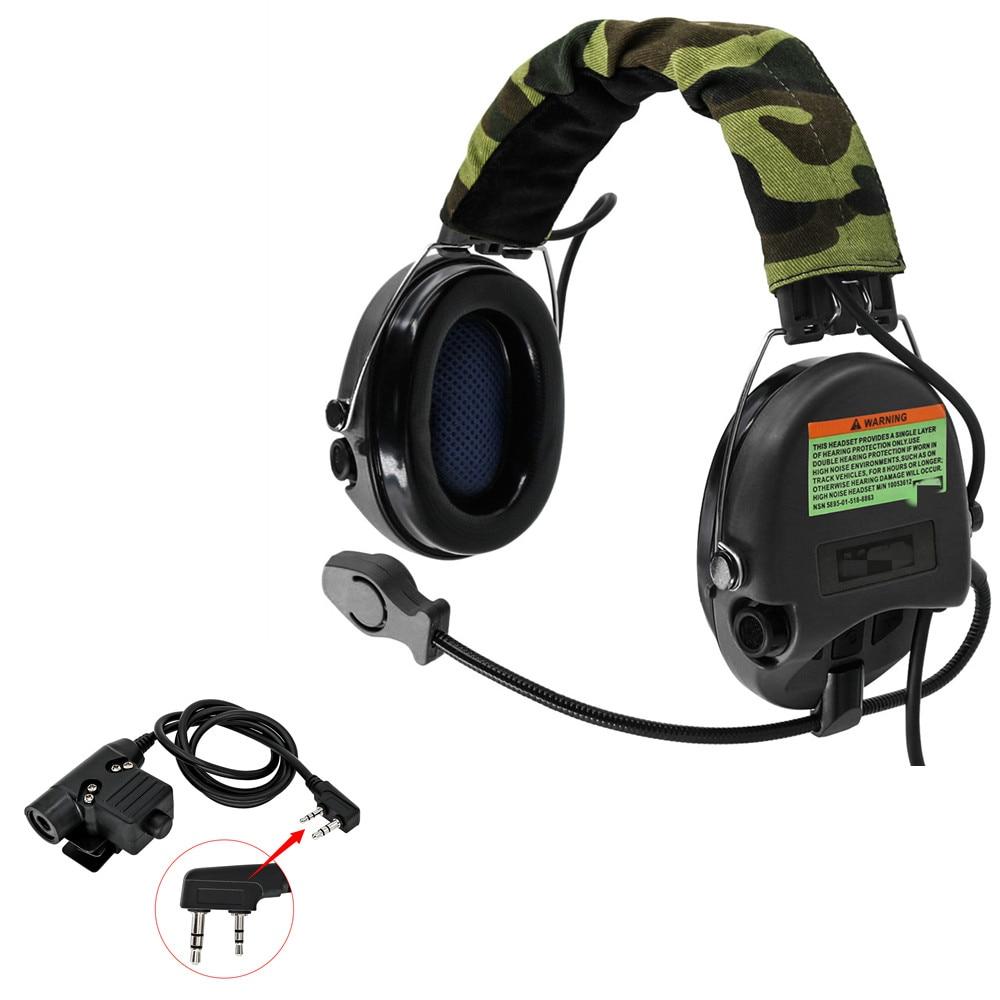 Tactical Headset Hunting Airsoft MSASORDIN Aviation Noise Reduction Headset Military Headphones BK+ PTT U94 2 Pin Plug