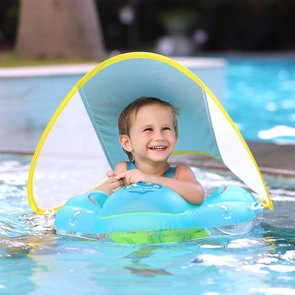 حلقات السباحة للأطفال نفخ الدوائر للبحر الطفل العوامة ألعاب في الهواء الطلق الطفل السباحة تعويم نفخ مع الظل المظلة
