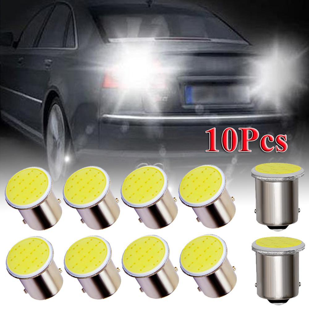 10 Uds. Led blanco 1156 BA15S P21W coche LED 1156 lámpara COB 12 SMD 12V voltaje coche accesorios CSV