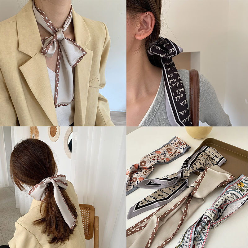 Thin and Narrow Sliver Silk Scarf Female Versatile Spring and Autumn Bandage Ribbon Korea Small Scar