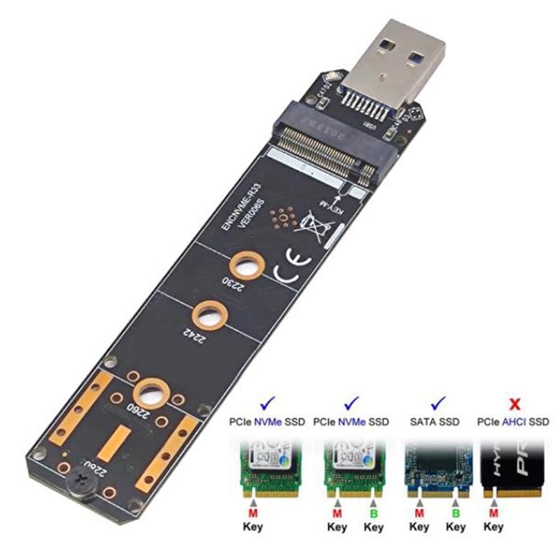 بروتوكول مزدوج M.2 NVME إلى USB 3.1SSD محول M2 SSD إلى بطاقة تحويل NGFF