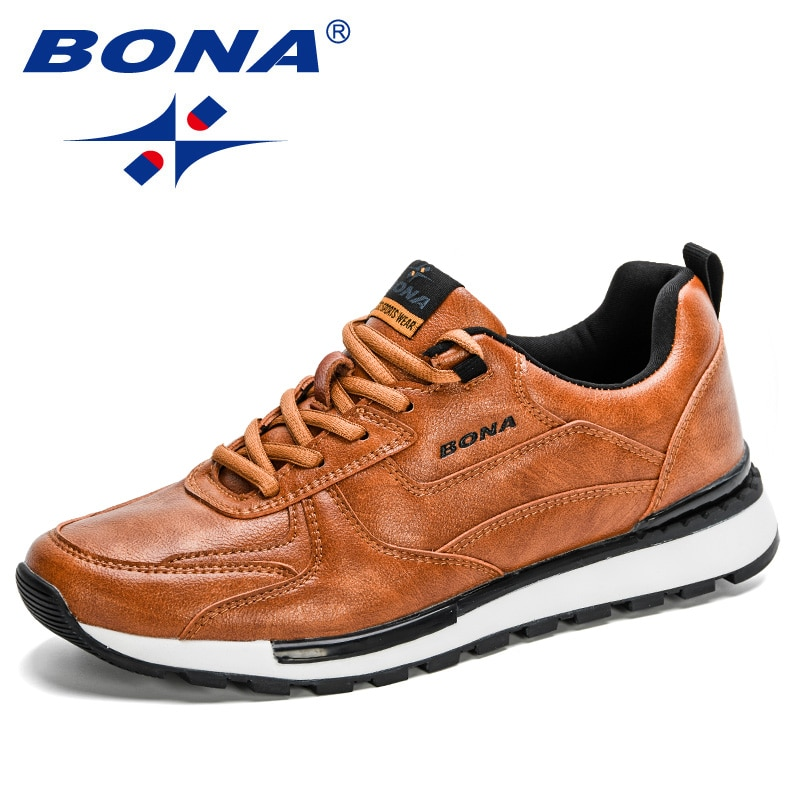 BONA-حذاء موكاسين عصري للرجال ، حذاء مسطح وناعم ومسامي بأربطة ، 2020