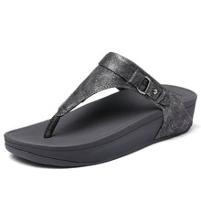 EOFK Neue Frauen Flip-Flops Sommer Flache Plattform Schuhe Frau Außerhalb Mode Hausschuhe Frauen Schuhe Grau Concise Perle Gummi