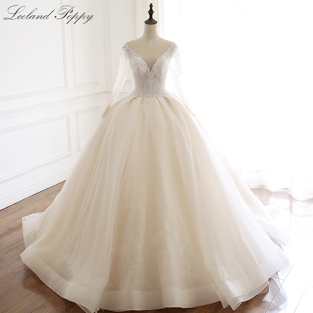 Lceland-فستان زفاف فاخر من الخشخاش ، ثوب حفلة ، أكمام طويلة ، خرز حجر الراين ، طول الأرض ، لامع ، 2020