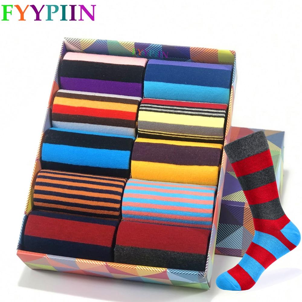 2020 de los hombres Calcetines de marca de alta calidad con rayas clásico Calcetines de algodón colorido feliz de moda calcetines de vestir informales de los hombres