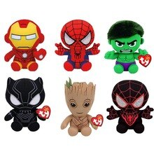 Ty Beanie Babies Marvel Super Hero Series Iron-man Captain America Plush Toy Children 15cm