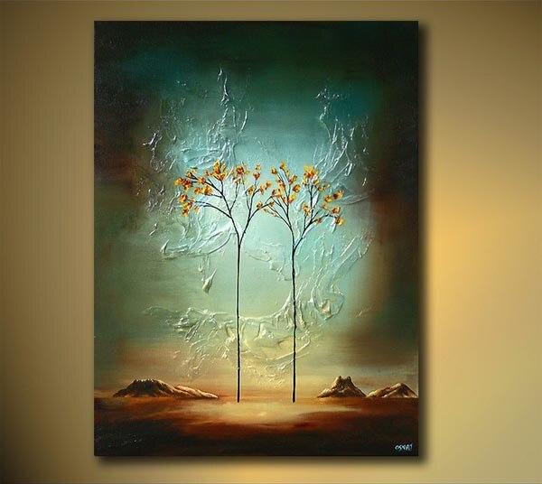 Pintura al óleo De árbol pintada a mano, pintura al óleo De hermosas artes abstractas, pintura al óleo De galería, lienzo moderno barato, descuento en lienzo De pared