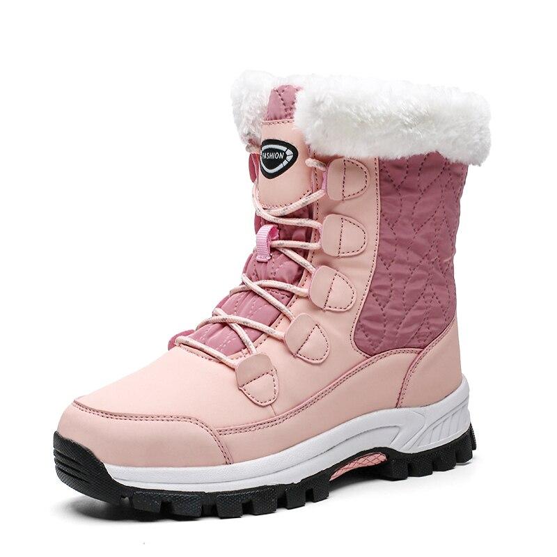 Przyjemny na zimę buty zasznurować ciepłe buty z futerkiem kobieta różowe skórzane buty damskie śniegowce na platformie płaskie ciepłe fala Pop Plues rozmiar