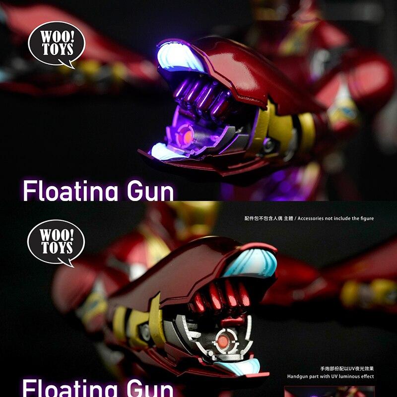 Woo brinquedos mk50 flutuante arma acessório kit uv brilhante arma de mão conjunto homem de ferro equipamento adequado para 12 polegadas modelos masculinos em estoque