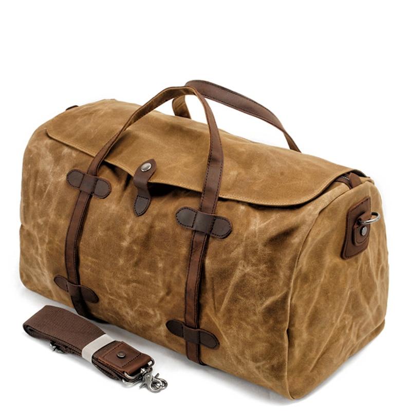 MUCHUAN خمر القطن الخالص قماش جلد السفر حقائب قماش سعة كبيرة حقيبة عطلة الأسبوع بين عشية وضحاها حقيبة الرجال اليد الأمتعة كبيرة