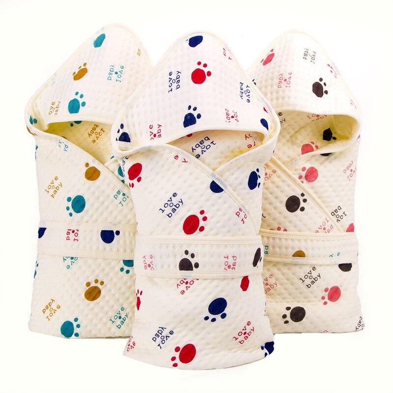 Unisex Newborn Swaddle Receiving Blanket Hooded Muslin Sleepbag Love Baby Nursing Sleeping Swaddle Wrap for Infant Boys Girls