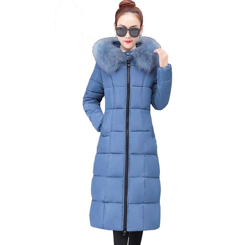 Chaqueta de invierno para mujer, de talla grande, holgada, de algodón, acolchada, elegante, 2020, moda coreana, larga, ajustada, con capucha, Parkas, abrigo con cuello de piel, prendas de vestir