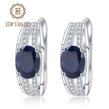 GEMS BALLET 3.32Ct Natural Blue Sapphire Gemstone Earrings 925 Sterling Silver Vintage Stud Earrings for Women Fine Jewelry