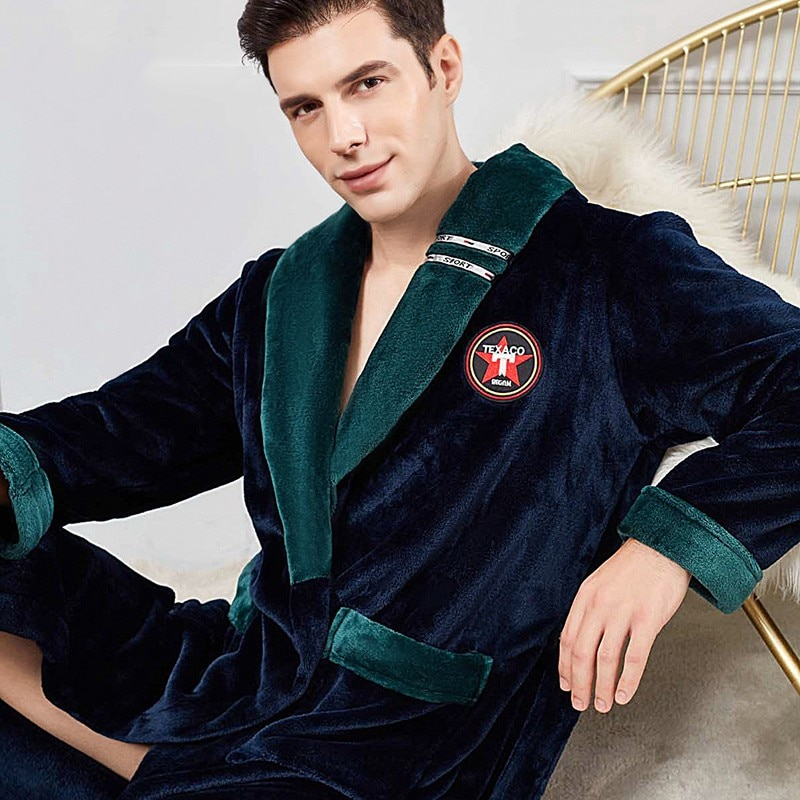 Ультра длинное зимнее кимоно халат мужские утолщение фланель халат платье оверсайз 3XL-4XL ночная рубашка свободная коралловый флис одежда для сна