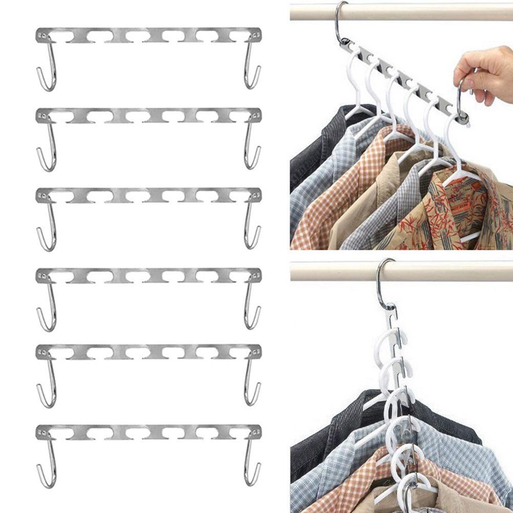 Colgadores mágicos para ropa, cadena colgante de Metal, colgador de armario de tela, multifunción, 2/4/6/8/10 Uds.