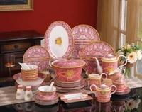 58 heads european enamel chinese porcelain table set western ceramic tableware set dinnerware set