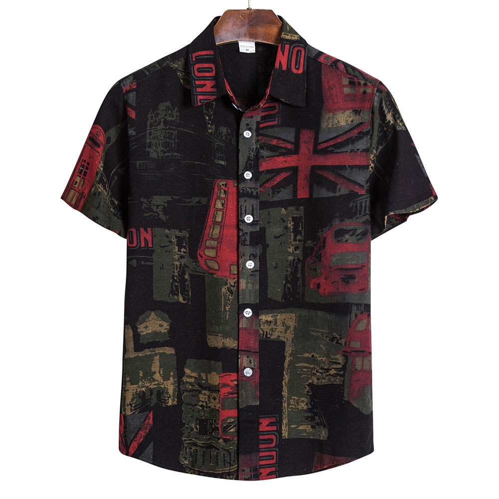 QIWN 2021 Men Summer Shirts Casual Loose Printing 5XL Plus Size Teens Top Daily Beach Blouse Fashion Clothing